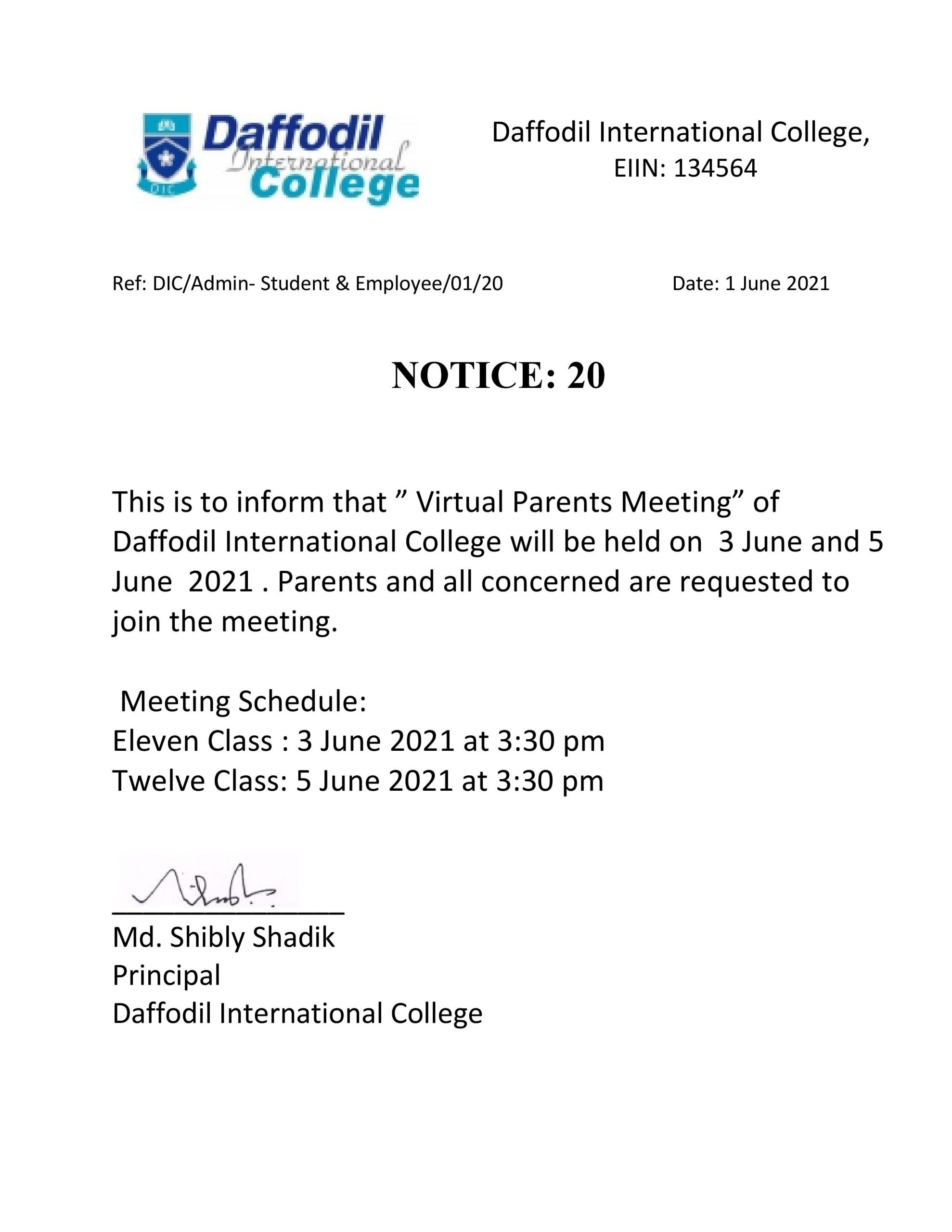 Parents Meeting of Daffodil International College( June)